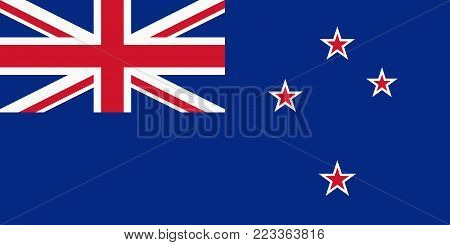 Flag of New Zealand. Vector illustration. World flag