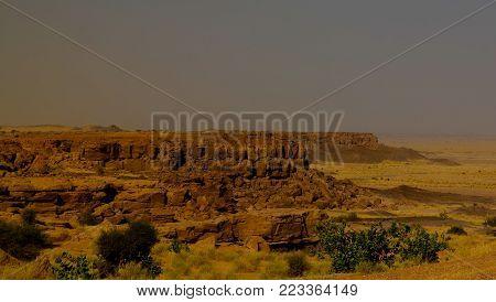 Rocky landscape at Sahara desert near Tchirozerine region, Agadez, Niger