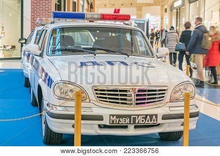 Moscow, Russia - November 23, 2017: Two Soviet Union police cars GAZ-31105 Volga. Retro car exibition in Metropolis shopping mall