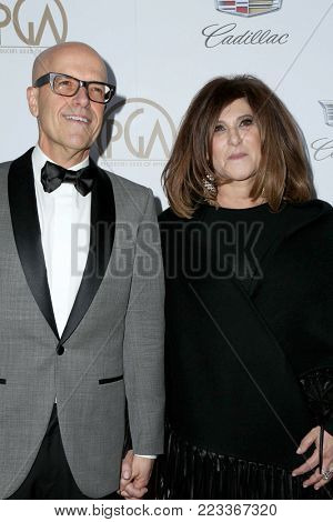 LOS ANGELES - JAN 20:  Amy Pascal, Donald De Line at the Producers Guild Awards 2018 at the Beverly Hilton Hotel on January 20, 2018 in Beverly Hills, CA