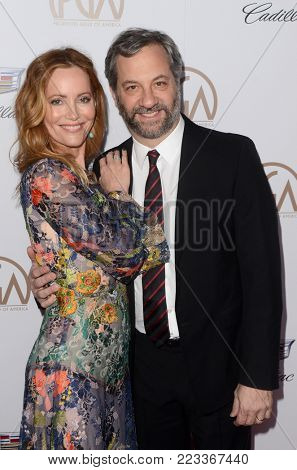 LOS ANGELES - JAN 20:  Leslie Mann, Judd Apatow at the Producers Guild Awards 2018 at the Beverly Hilton Hotel on January 20, 2018 in Beverly Hills, CA
