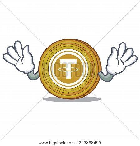 Mocking Tether coin mascot cartoon vector illustration