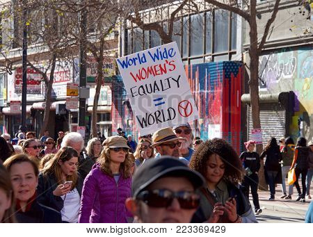 San Francisco, CA - January 20, 2018: Unidentified participants in the Women's March. Designed to engage and empower all people to support women's rights, and to encourage vote in midterm elections.