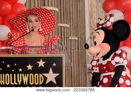 LOS ANGELES - JAN 22:  Katy Perry, Minnie Mouse at the Minnie Mouse Star Ceremony on the Hollywood Walk of Fame on January 22, 2018 in Hollywood, CA