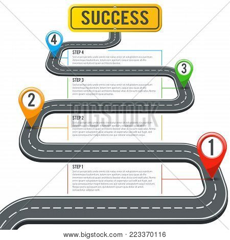Business Concept with Timeline Road Infographics, Pin Pointers and Road Sign Success. Flat style icons. Isolated Vector Illustration