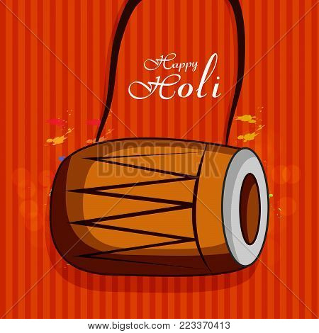 illustration of drum with happy Holi text on the occasion of Hindu Festival Holi