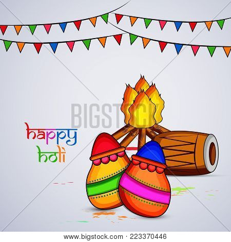 illustration of drum, bonfire, pots and decoration with happy Holi text on the occasion of Hindu Festival Holi
