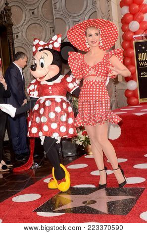 LOS ANGELES - JAN 22:  Minnie Mouse, Katy Perry at the Minnie Mouse Star Ceremony on the Hollywood Walk of Fame on January 22, 2018 in Hollywood, CA