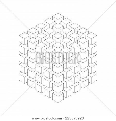 Geometric cube of smaller isometric cubes. Abstract design element. Science or construction concept. Black outline 3D vector object.