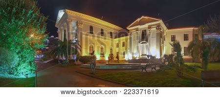 SOCHI, RUSSIA - JANUARY 11, 2018: Art Museum at night illuminationlook extraordinary and more sonorous.