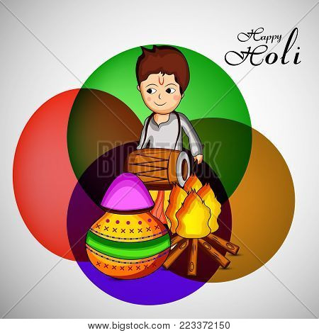illustration of a boy playing drum and bonfire with happy Holi text on the occasion of Hindu Festival Holi