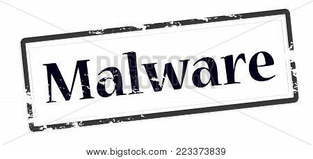 Rubber stamp with word malware inside, vector illustration