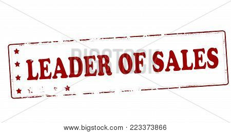 Rubber stamp with text leader of sales inside, vector illustration