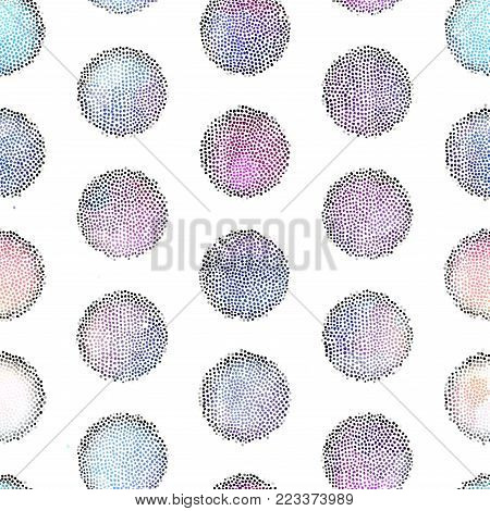 Seamless background pattern. Irregular decorative mosaic art tile pattern from small dots. Polka dot of dots.