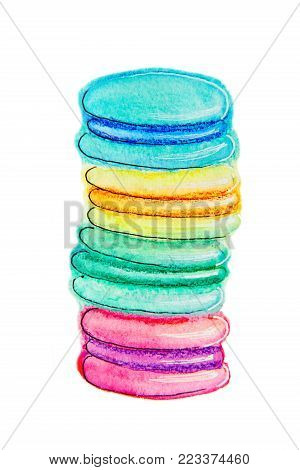 Stack of colorful macaron, macaroon almond cakes, sketch style  illustration isolated on white background. Stack, pile of colorful almond macaron, macaroon biscuits, sweet and beautiful dessert