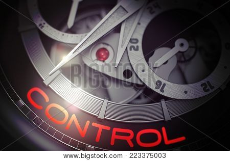 Control on Face of Luxury Wristwatch, Chronograph Up Close. Control - Old Wristwatch with Visible Mechanism and Inscription on the Face. Time and Work Concept with Glowing Light Effect. 3D Rendering.