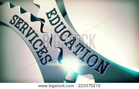 Education Services on Mechanism of Metallic Gears. Business Concept in Industrial Design. Education Services on Metallic Cogwheels, Business Illustration with Glow Effect. 3D Illustration .
