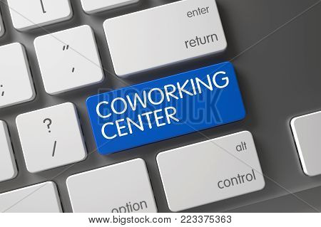 Concept of Coworking Center, with Coworking Center on Blue Enter Button on Laptop Keyboard. 3D Illustration.