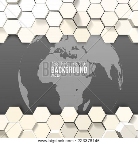 Abstract digital mosaic template with beige 3d hexagons in mosaic style and gray globe vector illustration