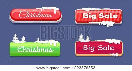 Christmas big sale glossy web push buttons covered with snow and decorated by Xmas trees vector online shopping signs isolated on blue website labels