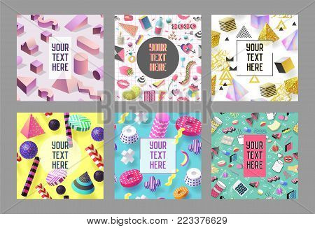 Trendy Abstract Memphis Poster Templates Set with Place for your Text. Hipster Banners Backgrounds 80-90 Vintage Style. Vector illustration