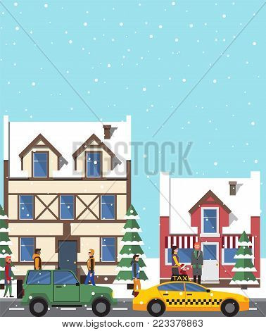 Winter view and buildings, poster with snow falling on roofs and pine tree, people and cars on roads, cityscape isolated on vector illustration
