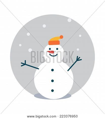 Snowman wearing hat of orange color, poster with winter character with carrot nose, circle and snowflakes falling down isolated on vector illustration