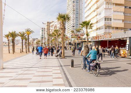 Benidorm, SpaBenidorm, Spain - January 14, 2018: People enjoying holiday in Benidorm, Costa Blanca, Spain.