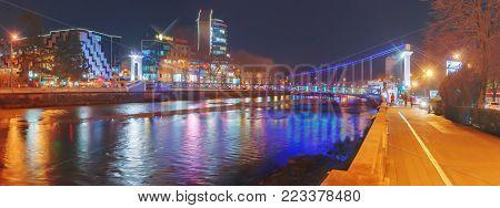 SOCHI, RUSSIA - JANUARY 11, 2018: Suspension bridge on the Sochi River