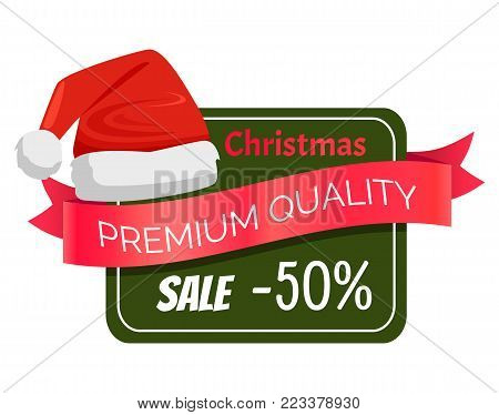 Premium quality Christmas sale 50 discount promo label Santa Claus hat, square on background, ribbon with text, advertisement badge headwear icon