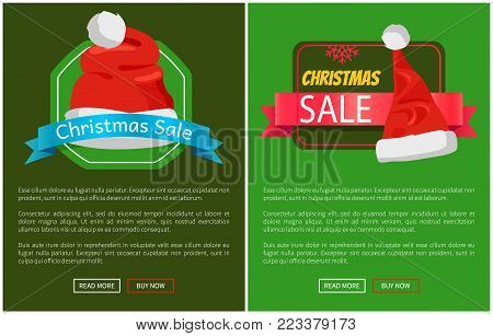 Christmas sale promotion cards vector illustration with text samples, push-buttons red snowflake, Santa s hats with bubo isolated on green backgrounds