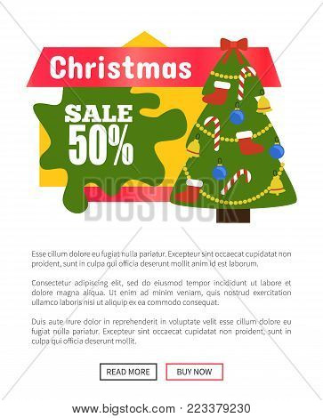 Christmas half price sale card vector illustration of festive tree with lollipops boots balls and big red bow on it, text sample, buttons with frames