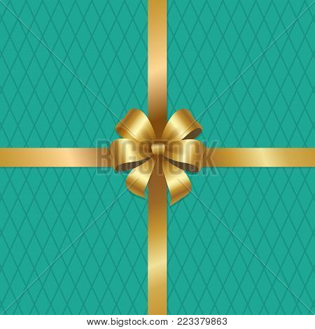Golden bow knot on silk ribbon vector illustration decorative element isolated on green rhombus background. Satin gold thread, silk tape for your design