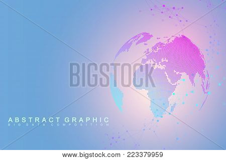 Global network connection. Network and big data visualization background. Global business. Vector Illustration