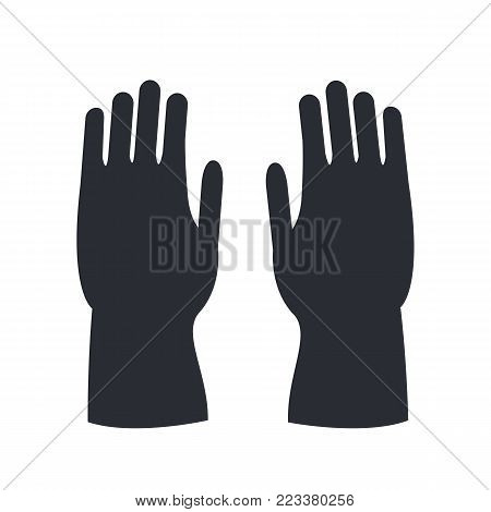 Fire protective rubber gloves silhouette isolated on white. Human body gesture of defense template. Black icons depicting person hands