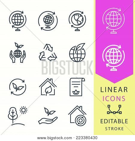 Ecology - line vector icon set. Editable stroke. Eco, ecological house, nature, globe and more.
