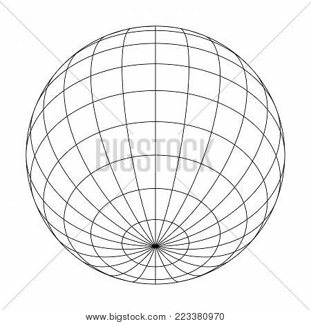 Earth planet globe grid of meridians and parallels, or latitude and longitude. 3D vector illustration.