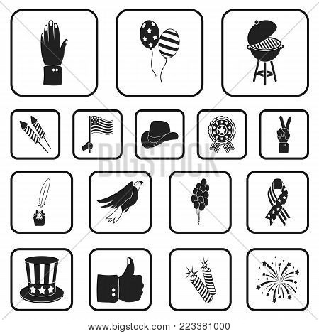 Day of Patriot, holiday black icons in set collection for design. American tradition vector symbol stock  illustration.