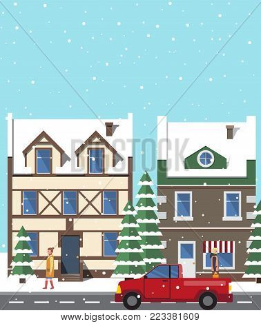 City in winter period of year, buildings and trees covered with snow, people on street and car riding on road, isolated on vector illustration