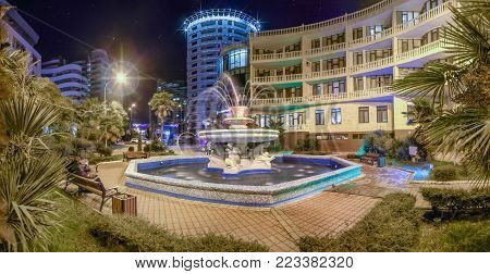 SOCHI, RUSSIA - JANUARY 7, 2018: Fountain Summer at night illumination