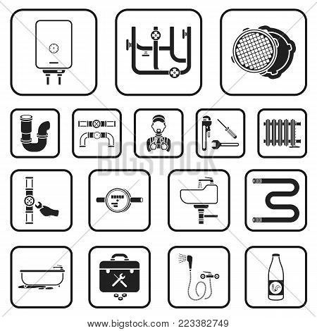 Plumbing, fitting black icons in set collection for design. Equipment and tools vector symbol stock  illustration.