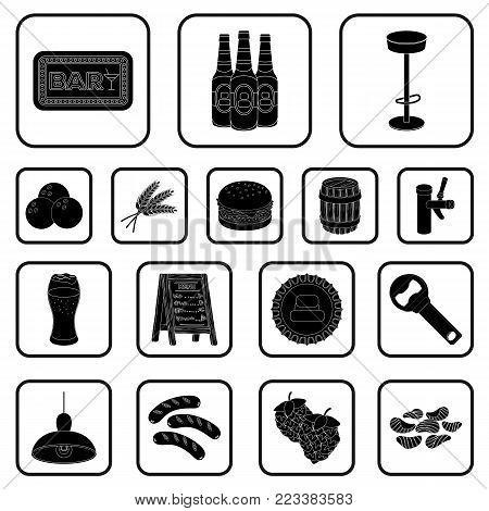 Pub, interior and equipment black icons in set collection for design. Alcohol and food vector symbol stock  illustration.