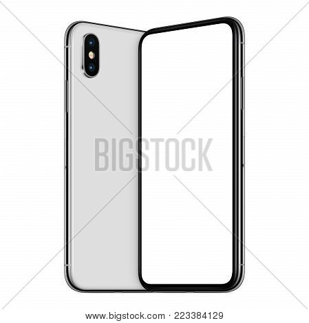 White turned similar to iPhone X smartphones mockup. New modern frameless smartphones mockup with blank white screen and back side facing each other. Isolated on white background. 3D illustration.