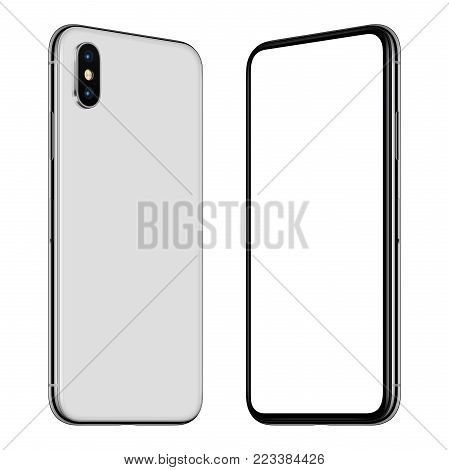 Similar to iPhone X rotated smartphone mockup front and back side. New modern white frameless rotated smartphone mockup with blank white screen and back side facing each other. Isolated on white background. 3D illustration.
