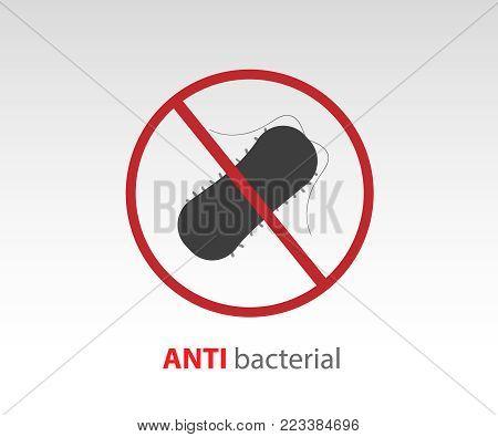 Antibacterial icon vector. No bacteria symbol illustration