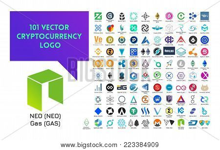 Big set of vector colorful cryptocurrency logo on white background.