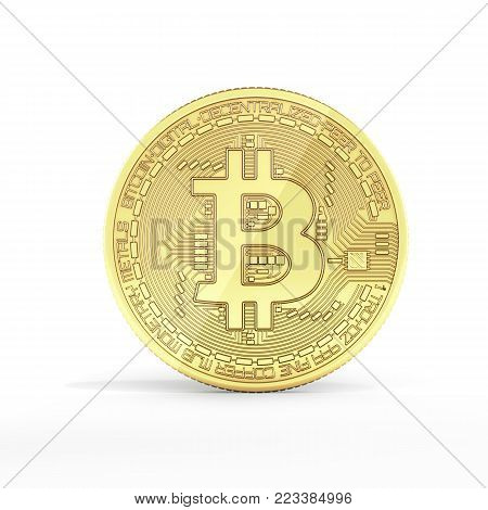 Bitcoin 3D isometric Physical bit coin in gold Digital currency Cryptocurrency Golden coin with symbol isolated on white background 3d render illustration