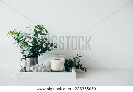 Natural eco home decor with green leaves and burning candle on tray, boho interior decorations