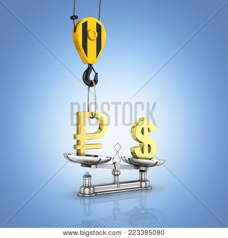 Concept of exchange rate support dollar vs ruble The crane pulls the ruble up and lowers the dollar on blue gradient background 3d