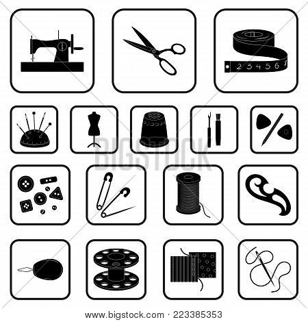 Sewing, atelier black icons in set collection for design. Tool kit vector symbol stock  illustration.
